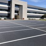 Newly paved office building parking lot