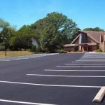 Newly paved church parking lot